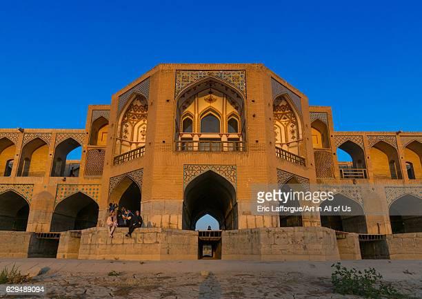 Khaju bridge Pol-e Khaju over dry Zayandeh river, Isfahan Province, Isfahan, Iran on October 13, 2016 in Isfahan, Iran.