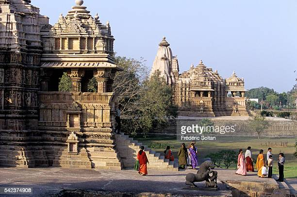 Khajuraho has the largest group of medieval Hindu and Jain temples in India famous for their erotic sculpture View of Devi Jagadambi and Chitragupta...