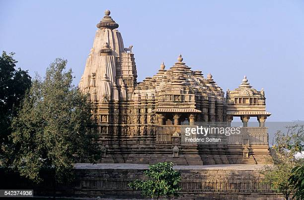 Khajuraho has the largest group of medieval Hindu and Jain temples in India famous for their erotic sculpture View of Chitragupta temple dedicated to...