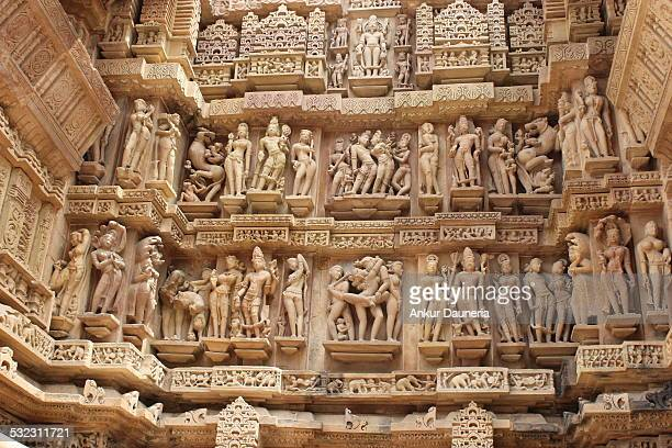 khajuraho temple - jain temple stock photos and pictures