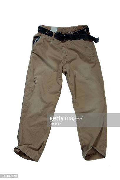 khaki trousers - casual pants on white background - khaki trousers stock pictures, royalty-free photos & images