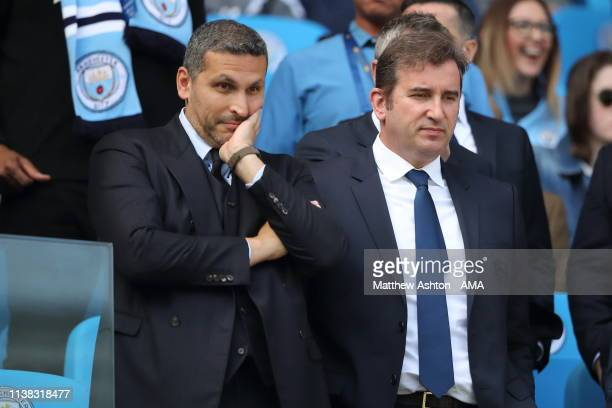 Khaldoon Al Mubarak chairman and Ferran Soriano the Chief Executive Officer of Manchester City during the Premier League match between Manchester...