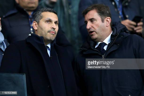 Khaldoon Al Mubarak, Chairman of Manchester City, and Ferran Soriano, CEO of Manchester City in the stands prior to the Premier League match between...