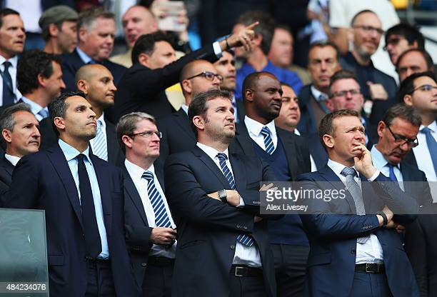 Khaldoon Al Mubarak Chairman of Manchester City and Ferran Soriano Chief Executive Officer look on during the Barclays Premier League match between...