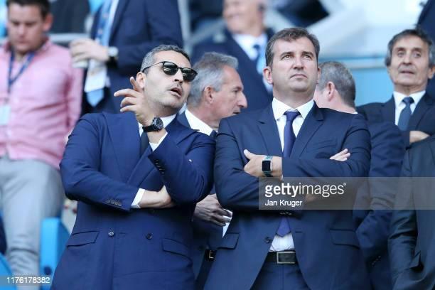 Khaldoon Al Mubarak, Chairman of Manchester City speaks to Ferran Soriano, Chief Executive Officer during the Premier League match between Manchester...