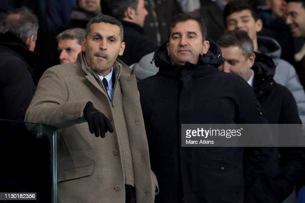 Khaldoon Al Mubarak chairman of Manchester City with Ferran Soriano Chief Executive Officer of Manchester City during the UEFA Champions League Round...