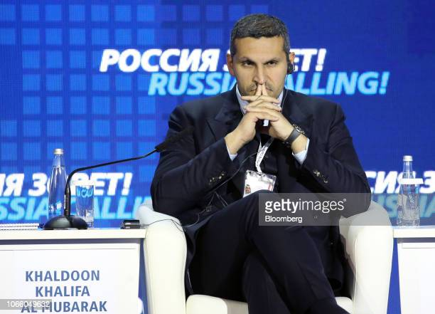 Khaldoon Al Mubarak chief executive officer of Mubadala Investment Co pauses during the plenary panel at the annual VTB Capital 'Russia Calling'...