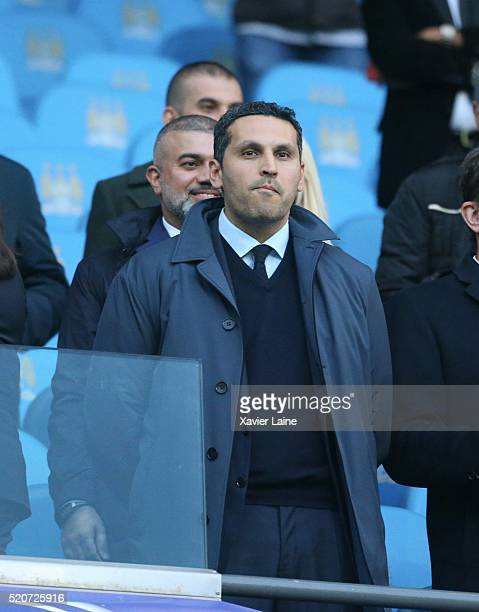 Khaldoon Al Mubarak during the UEFA Champions League Quarter Final second leg match between Manchester City FC and Paris SaintGermain at the Etihad...