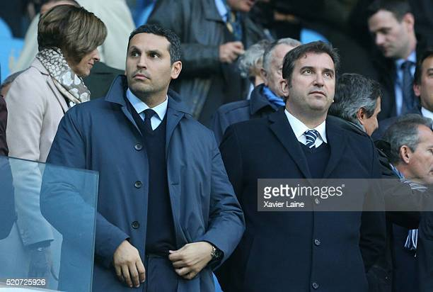 MANCHESTER ENGLAND APRIL Khaldoon Al Mubarak during the UEFA Champions League Quarter Final second leg match between Manchester City FC and Paris...