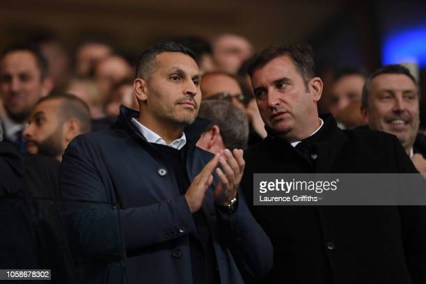 Khaldoon Al Mubarak Manchester City chairman is seen in the crowd prior to the Group F match of the UEFA Champions League between Manchester City and...