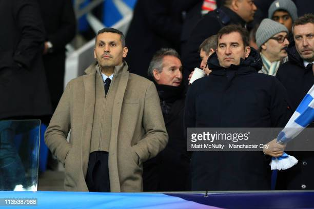 Khaldoon Al Mubarak, Manchester City Chairman looks on ahead of the UEFA Champions League Round of 16 Second Leg match between Manchester City v FC...