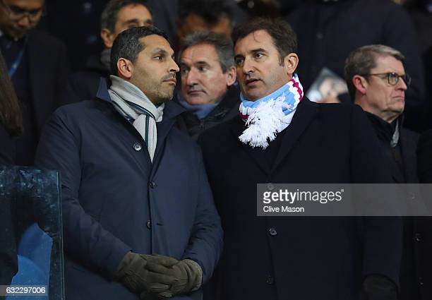 Khaldoon Al Mubarak Manchester City chairman speaks to Ferran Soriano Chief Executive during the Premier League match between Manchester City and...