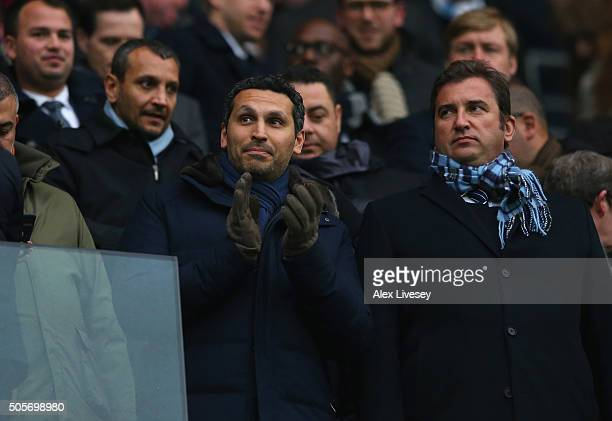 Khaldoon Al Mubarak the Chairman of Manchester City looks on prior to the Barclays Premier League match between Manchester City and Crystal Palace at...