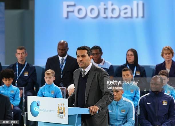 Khaldoon Al Mubarek the Manchester City Chairman talks during the official launch of the Manchester City Football Academy at the City Football...