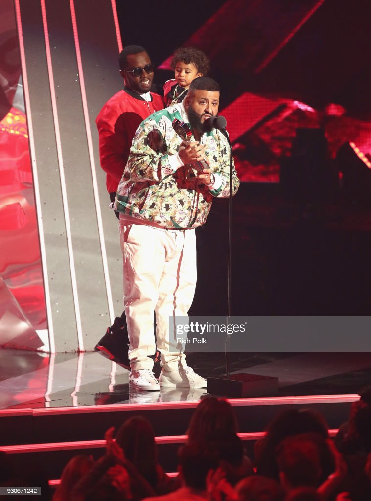 DJ Khaled (R) accepts Hip-Hop Song of the Year for 'Wild Thoughts' onstage during the 2018 iHeartRadio Music Awards which broadcasted live on TBS, TNT, and truTV at The Forum on March 11, 2018 in Inglewood, California.
