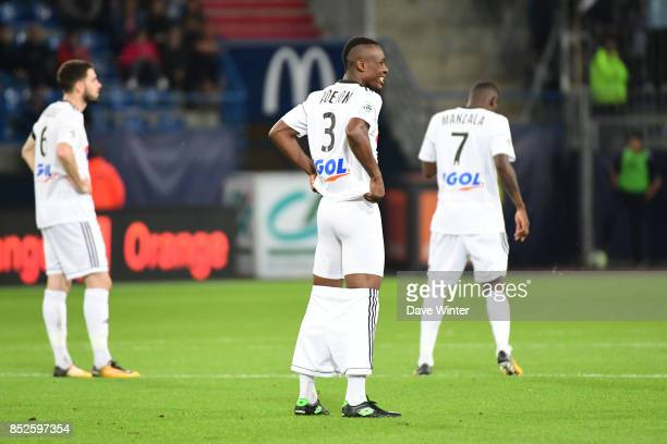 Khaled Adenon of Amiens makes some adjustments at the start of the second half of the Ligue 1 match between SM Caen and Amiens SC at Stade Michel...
