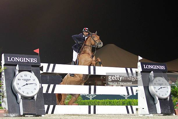 Khaled Al Junaibi of the United Arab Emirates rides Taenzerin during the President of the UAE Showjumping Cup Furusiyyah Nations Cup Series presented...