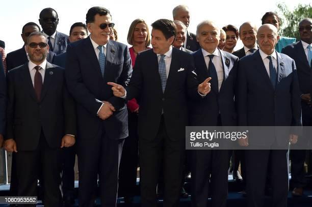 Khaled al Meshri, President of Libya High Coucil of State, Fayez al-Sarraj , Prime Minister of Libya, Giuseppe Conte, Prime Minister of Italy,...