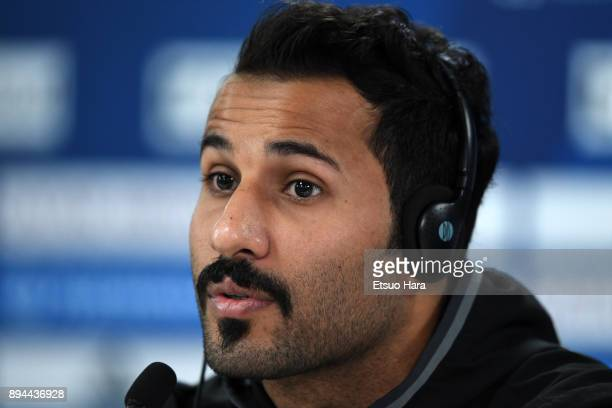 Khaled Al Sennani of Al Jazira attends a press conference ahead of the FIFA Club World Cup UAE 2017 third place match between Al Jazira and CF...
