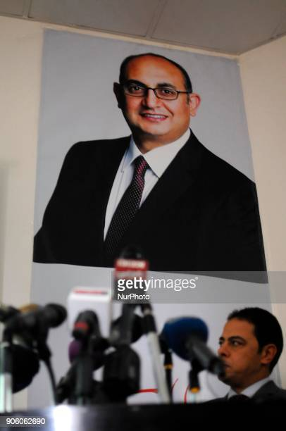 Khaled Ali's photo banner before he talks in a press conference in Cairo Egypt on 17 January 2018