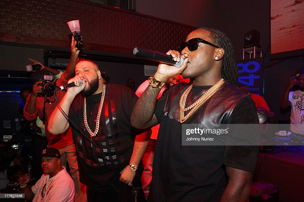 DJ Khaled and Ace Hood perform at the We The Best Day Party at Stage 48 on August 24, 2013 in New York City.