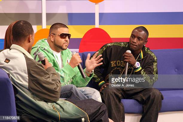 DJ Khaled and Akon during Akon and DJ Khaled Visit BET's '106 Park' April 9 2007 at BET Studios in New York City New York United States