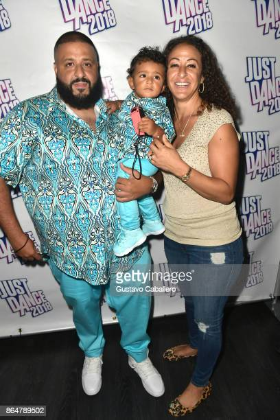 Khaled and Asahd Khaled celebrate his first Birthday by playing Just Dance 2018 on October 21 2017 in Miami Beach Florida