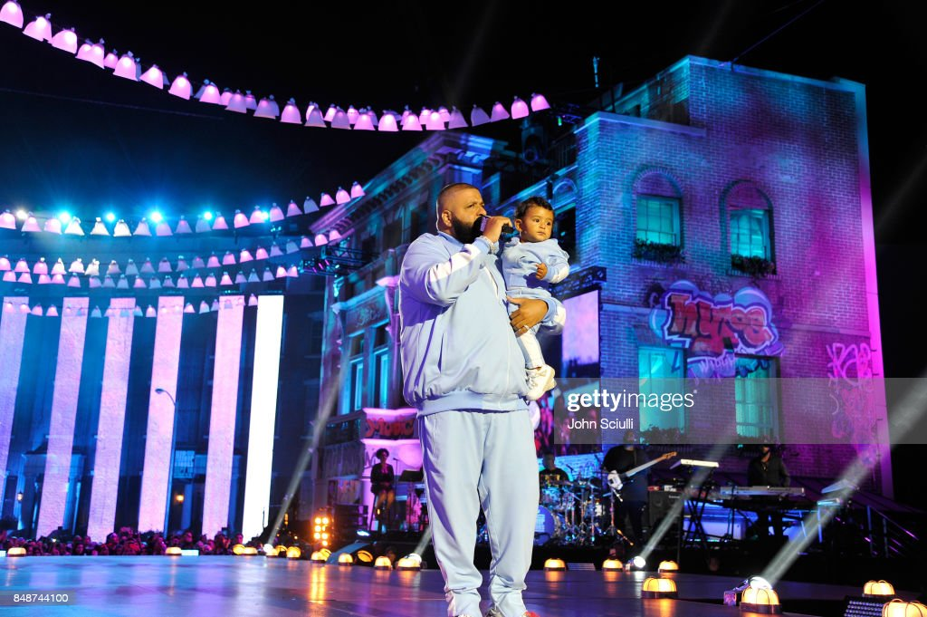 DJ Khaled (L) and Asahd Tuck Khaled onstage at VH1 Hip Hop Honors: The 90s Game Changers at Paramount Studios on September 17, 2017 in Los Angeles, California.
