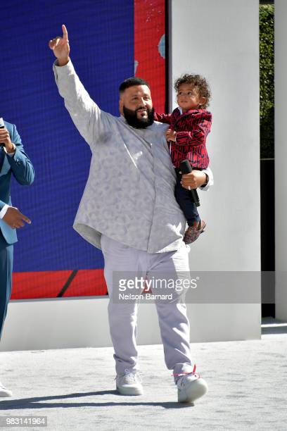 Khaled and Asahd Tuck Khaled perform onstage at Live Red Ready PreShow sponsored by Nissan at the 2018 BET Awards at Microsoft Theater on June 24...