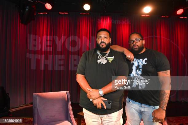Khaled and Billboard Hip-Hop Editor Carl Lamarre attend AudioMack Presents Beyond The Beat With DJ Khaled at The GRAMMY Museum on June 25, 2021 in...
