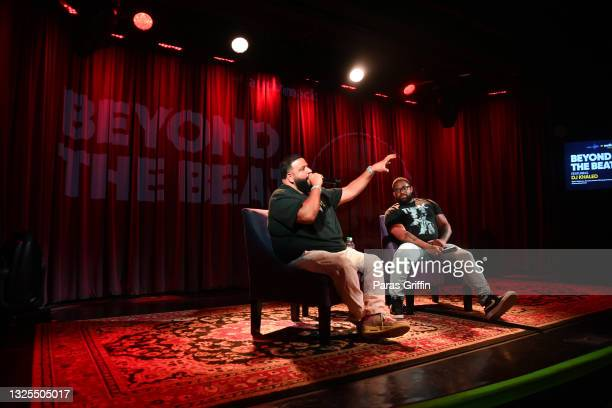 Khaled and Billboard Hip-Hop Editor Carl Lamarre speak onstage during AudioMack Presents Beyond The Beat With DJ Khaled at The GRAMMY Museum on June...