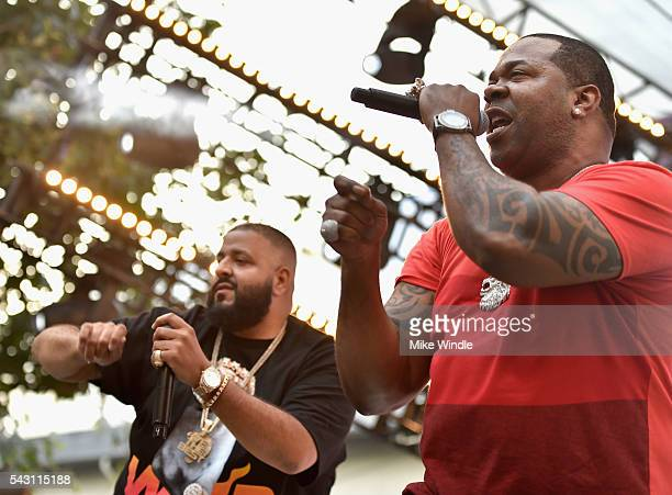Khaled and Busta Rhymes perform onstage at EpicFest 2016 hosted by LA Reid and Epic Records at Sony Studios on June 25 2016 in Los Angeles California