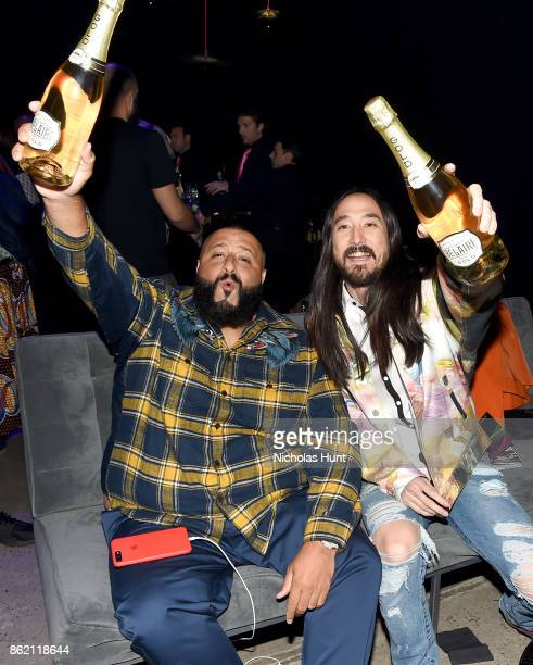 Khaled and DJ Steve Aoki attend VH1 Save The Music 20th Anniversary Gala at SIR Stage37 on October 16 2017 in New York City