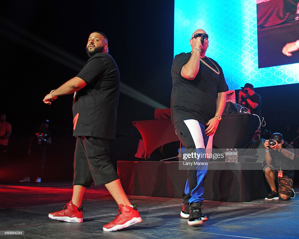 DJ Khaled and Fat Joe perform during the 103.5 The Beat Down concert at BB&T Center on June 12, 2014 in Sunrise, Florida.