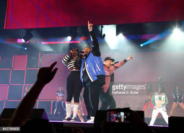 Khaled and Fat Joe perform during the Verizon Slam Dunk Contest during State Farm AllStar Saturday Night as part of the 2017 NBA AllStar Weekend on...
