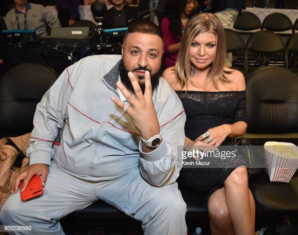 Khaled and Fergie attend the 67th NBA AllStar Game Team LeBron Vs Team Stephen at Staples Center on February 18 2018 in Los Angeles California