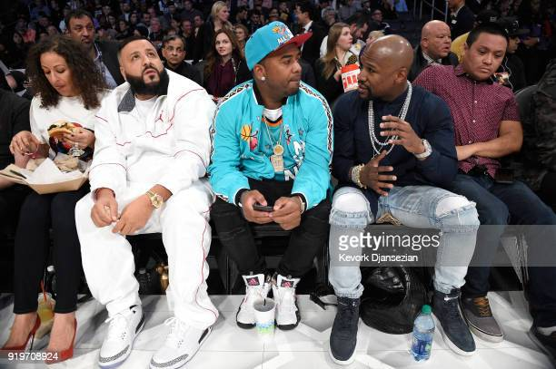 Khaled and Floyd Mayweather and guests attend the 2018 Taco Bell Skills Challenge at Staples Center on February 17 2018 in Los Angeles California