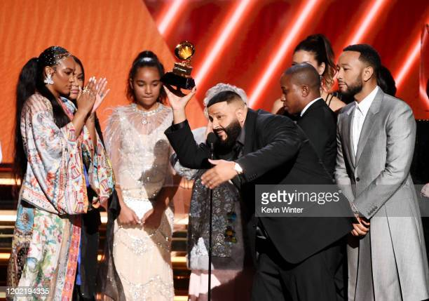 Khaled and John Legend accept the Best Rap/Sung Performance award for 'Higher' onstage during the 62nd Annual GRAMMY Awards at STAPLES Center on...