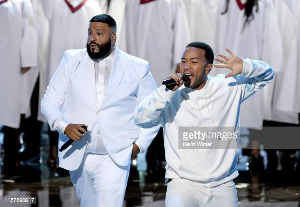 Khaled and John Legend perform onstage at the 2019 BET Awards on June 23, 2019 in Los Angeles, California.