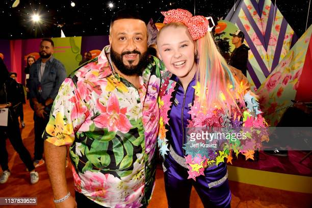 DJ Khaled and JoJo Siwa attend Nickelodeon's 2019 Kids' Choice Awards at Galen Center on March 23 2019 in Los Angeles California