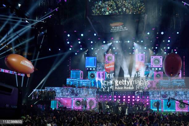 Khaled and JoJo Siwa perform onstage at Nickelodeon's 2019 Kids' Choice Awards at Galen Center on March 23 2019 in Los Angeles California