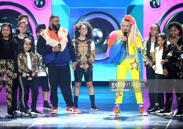 Khaled and JoJo Siwa speak onstage at Nickelodeon's 2019 Kids' Choice Awards at Galen Center on March 23 2019 in Los Angeles California