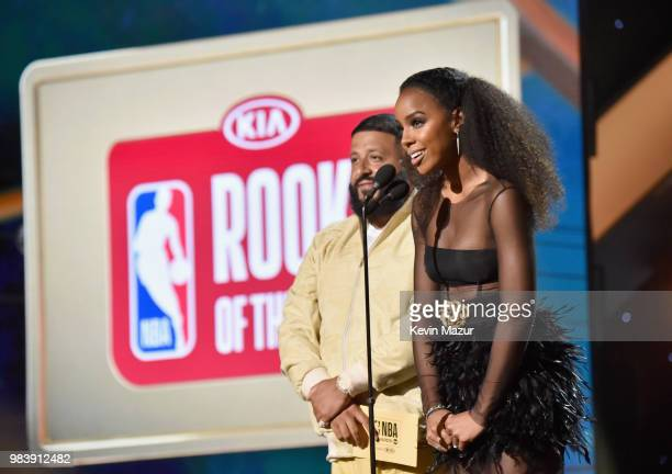 Khaled and Kelly Rowland speak onstage at the 2018 NBA Awards at Barkar Hangar on June 25 2018 in Santa Monica California