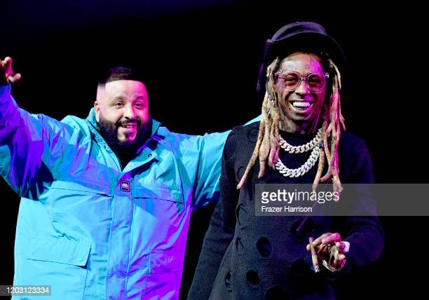 Khaled and Lil Wayne perform onstage during the EA Sports Bowl at Bud Light Super Bowl Music Fest on January 30, 2020 in Miami, Florida.