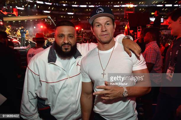 Khaled and Mark Wahlberg attend the 2018 State Farm AllStar Saturday Night at Staples Center on February 17 2018 in Los Angeles California