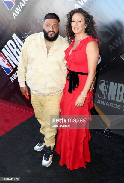 Khaled and Nicole Tuck attend 2018 NBA Awards at Barkar Hangar on June 25 2018 in Santa Monica California