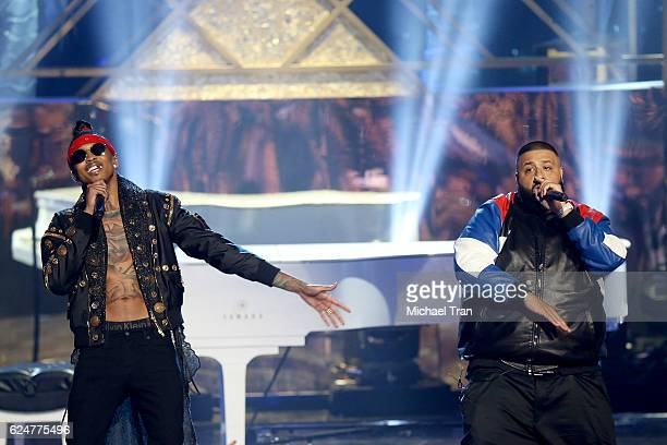 Khaled and rapper August Alsina performs onstage during the 2016 American Music Awards held at Microsoft Theater on November 20 2016 in Los Angeles...