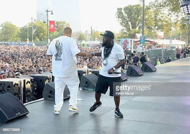 Khaled and rapper Freeway perform onstage during the 2016 Budweiser Made in America Festival at Benjamin Franklin Parkway on September 4 2016 in...
