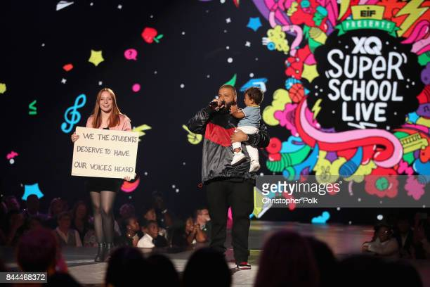 Khaled and son Asahd Tuck Khaled speak onstage during the XQ Super School Live presented by EIF at Barker Hangar on September 8 2017 in Santa...