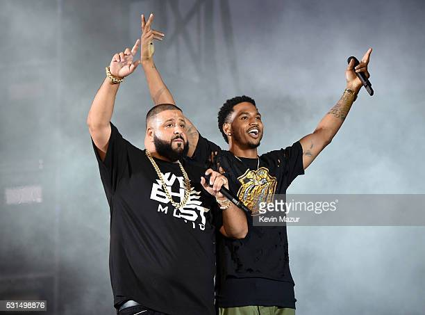 """Khaled and Trey Songz perform onstage during """"The Formation World Tour"""" at the Rose Bowl on May 14, 2016 in Pasadena, California."""